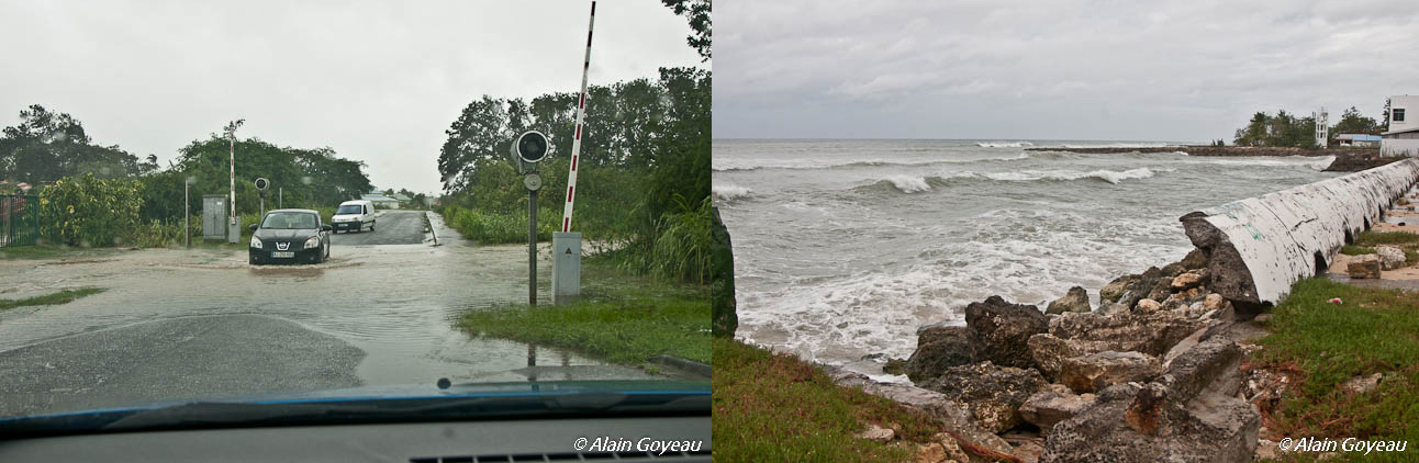 Routes inondées, peu de houle à Port-Louis.