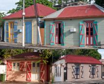 Des cases en bois, typique de Port-Louis Guadeloupe.