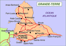 Carte du Nord Grande Terre de la Guadeloupe. Plongée Guadeloupe.