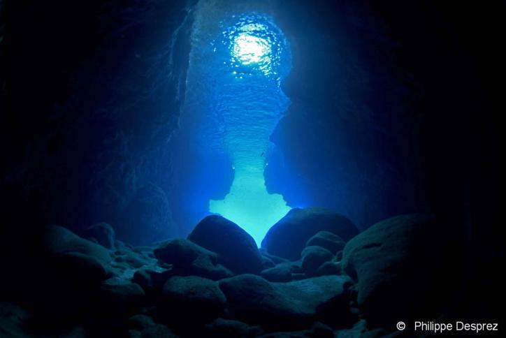 Plongée grotte en Guadeloupe, l'entrée de la Grotte Amédien.