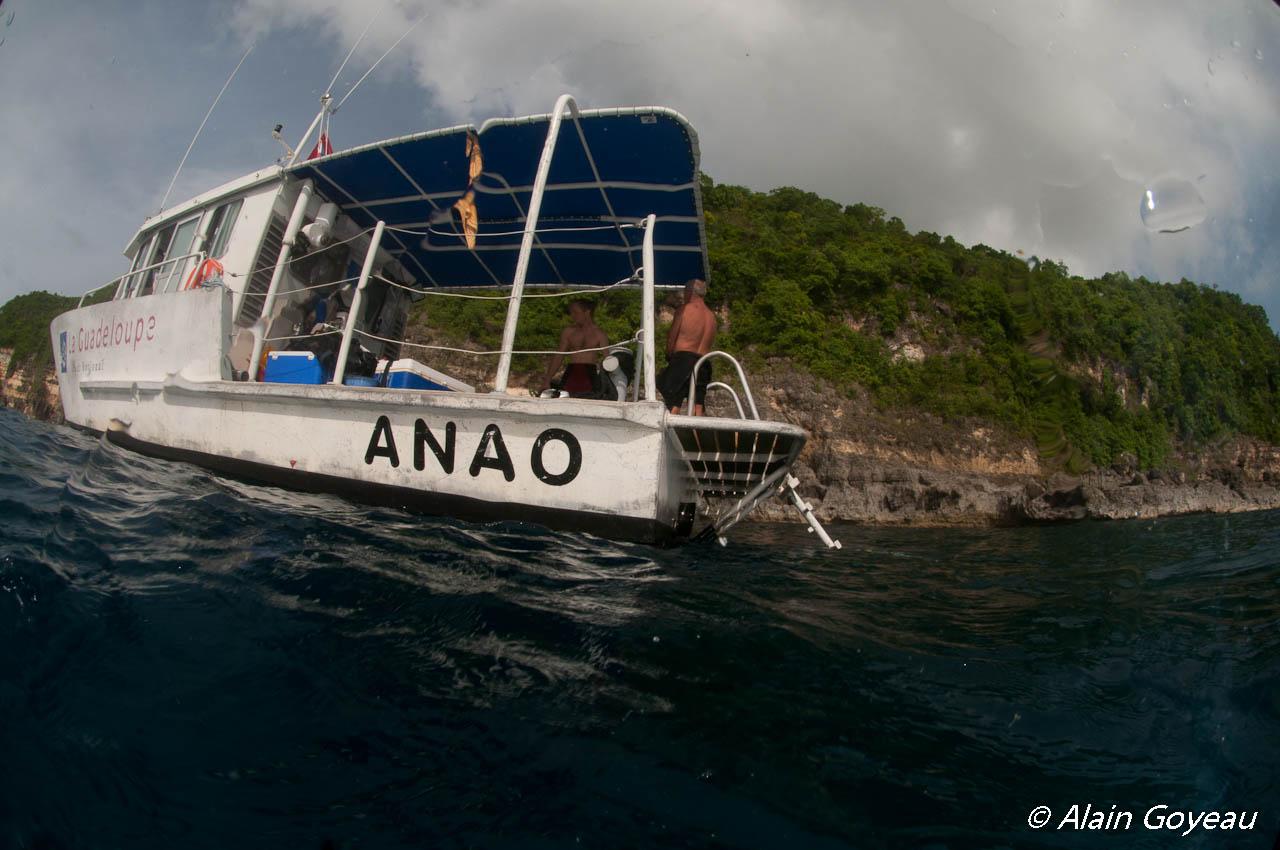 l'Anao, la bateau du Parc National de Guadeloupe, au pied des falaises de la Grande Vigie